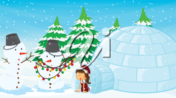 Illustration of a girl in an igloo