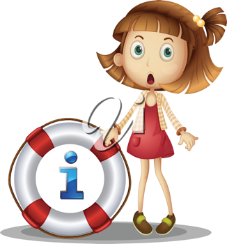 illustration of a girl with information symbol
