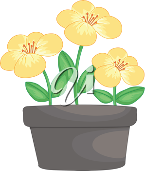Illustration of yellow flowers in a pot