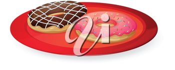 illustration on donuts in red dish on white