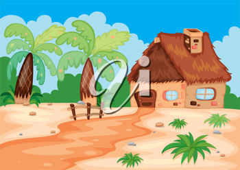 illustration of a hut in beatiful nature