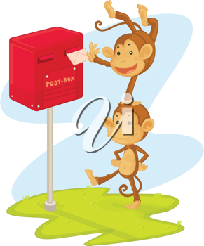 an illlustration of two monkeys performing and posting a letter