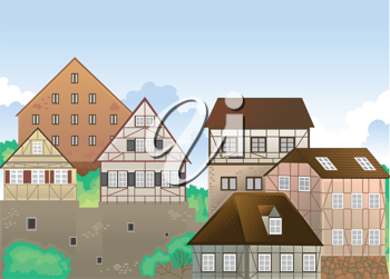 illustration of colony of house in green nature