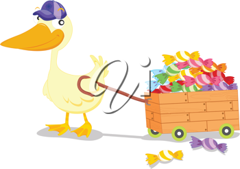 an illustration of a duck pulling a box full of sweets