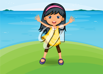 Illustration of a girl on a seashore