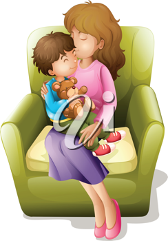 illustration of mom and her kid sitting on a chair