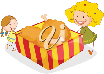 illustration of girl and chicken on a white background