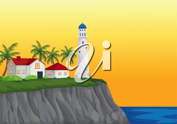 illustration of light house and appartment near water