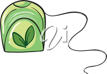 Illustration of a green floss holder on a white background