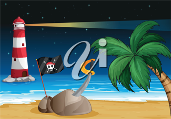 Illustration of a pirate flag and a sword at the seashore