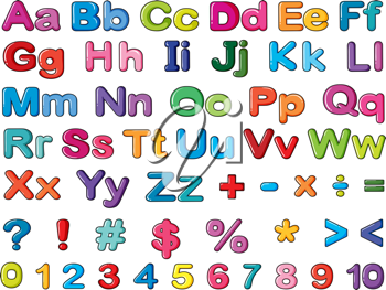 Illustration of alphabets and numbers on a white background