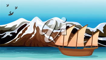 Illustration of a boat floating near the mountain area with sea birds flying