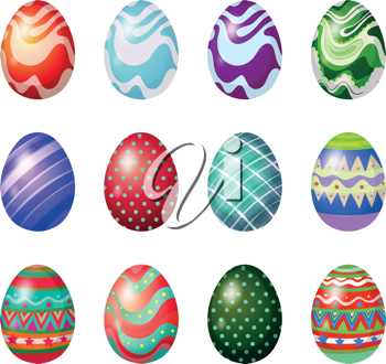 Illustration of a dozen of painted easter eggs on a white background
