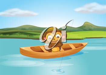 Illustration of a fishing monkey in a beautiful nature