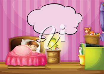 Illustration of a sleeping girl and a speech bubble