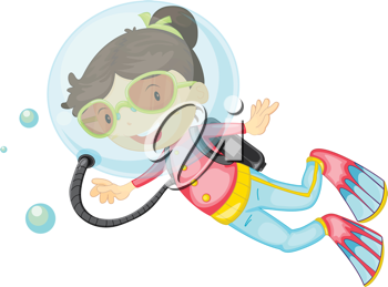 Illustration of a girl scuba diving on a white background