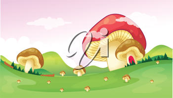 Illustration of big and small mushrooms