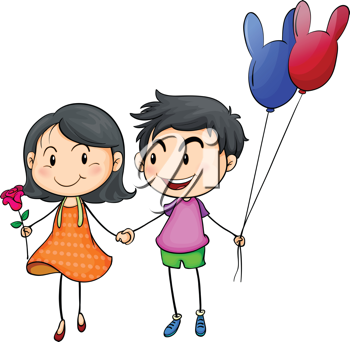 Illustration of a boy and a girl holding hands on a white background