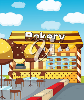 Illustration of a bakery store under a clear blue sky