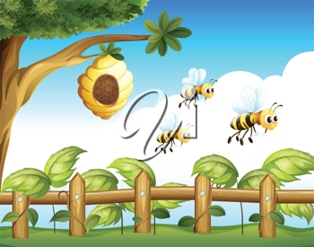 Illustration of the three bees that left their home