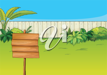 Illustration of an empty signboard in the garden