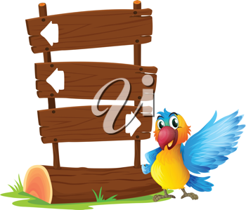 Illustration of a parrot beside a signboard on a white background