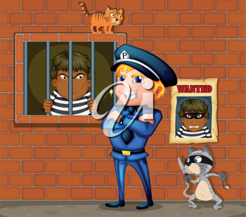 Illustration of a prisoner at the jail and the policeman