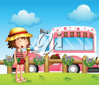 Illustration of a little girl and the ice cream bus