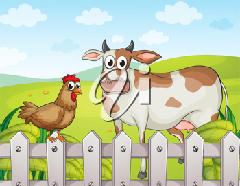 Illustration of a cow, a hen and a beautiful landscape