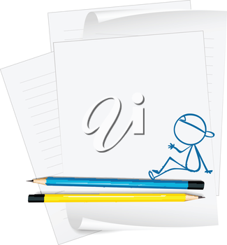 Illustration of a paper with a drawing of a boy on a white background