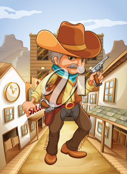 Illustration of a man holding a gun with a hat outside the saloon