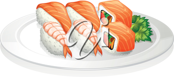 Illustration of a plate full of sushi on a white background