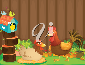 Illustration of a hen and a rooster beside the bird house