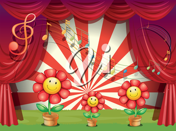 Illustration of the colorful flowers with musical notes at the stage