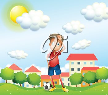 Illustration of a tired boy standing with a soccer ball