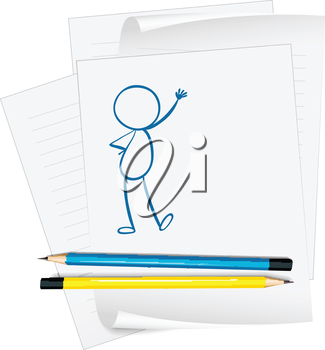 Illustration of a paper with a sketch of a person standing on a white background