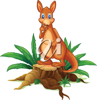 Illustration of a kangaroo standing on a stump with leaves on a white background