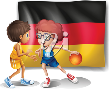 Illustration of the flag of Germany with the two athletes on a white background