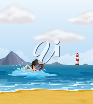 Illustration of a boy swimming in the sea near the lighthouse
