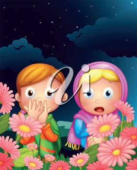 Illustration of two girls hiding in the middle of the night