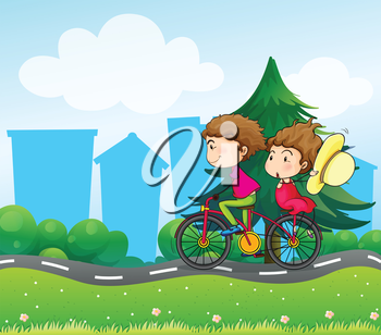 Illustration of a bike with two people