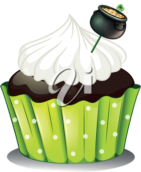 Illustration of a chocolate cupcake with white icing and a pot of gold on a white background