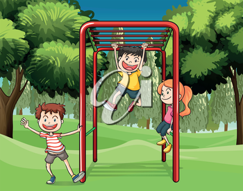 Illustration of the three kids playing at the park
