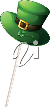 Illustration of a green hat with a stick on a white background