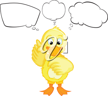 Illustration of a yellow duckling thinking on a white background