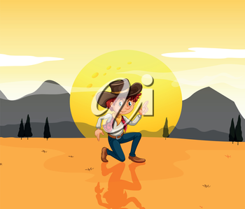 Illustration of a boy with a hat at the desert