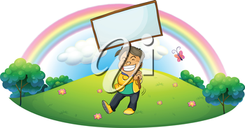 Illustration of a happy boy holding an empty signboard on a white background