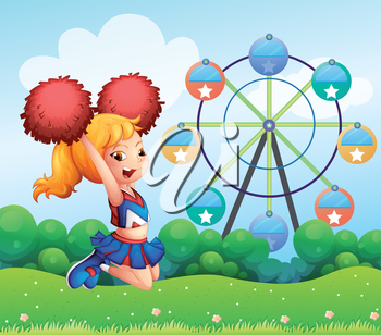 Illustration of a cheerleader at the hill