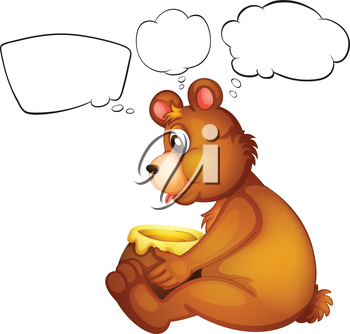 Illustration of a hungry bear thinking on a white background