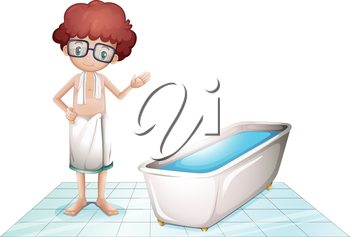 Illustration of a boy with a towel beside a bathtub on a white background